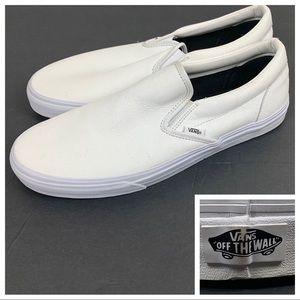 VANS All White Leather Slip On Sneakers Men's 13